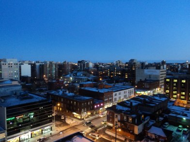 Gorgeous city views at dusk.