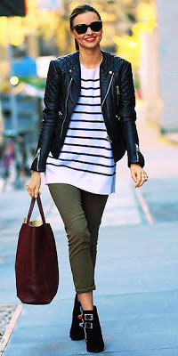 Miranda Kerr: coloured + cropped skinnies, ankle booties, stripes.
