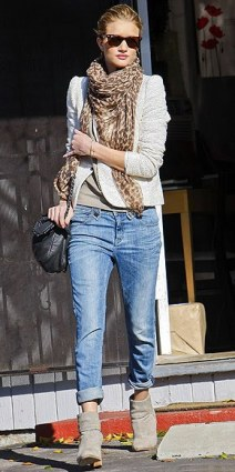 Rosie Huntington-Whiteley: leopard scarf, cropped bf jeans, ankle booties.