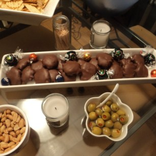 Christmas chocolates, nuts, and olives provided yummy snacking all night.