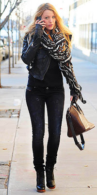 Blake Lively: chunky scarf, lace up booties, brown purse.