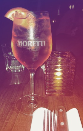 Aperol spritzing at Moretti's